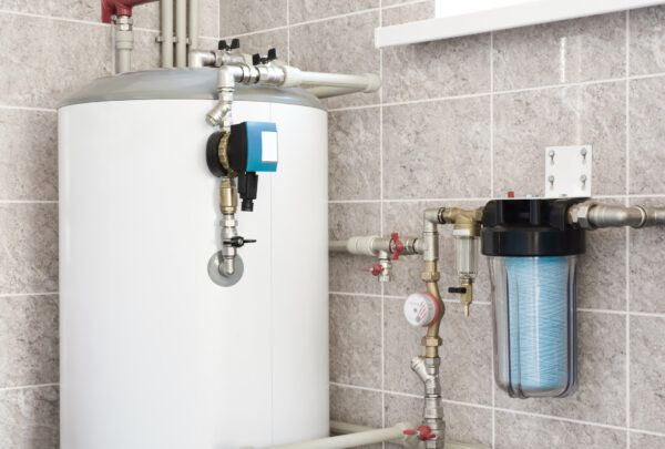 House water heating boiler with pump, ball valves and filters